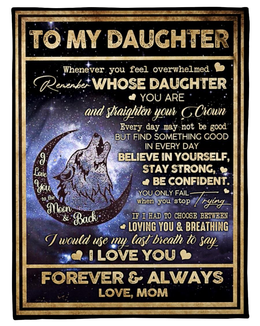 Wolf Howl Night Moon sky To my Daughter Fleece Blanket