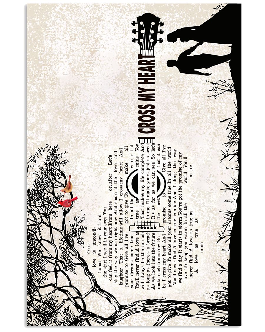 I Cross My Heart Guitar Words Pattern with Tree Poster