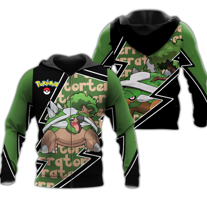 Torterra Zip Hoodie Costume Pokemon Shirt Fan Gift Idea