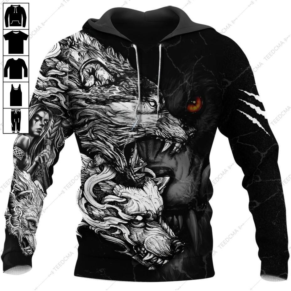 The ferocity of Wolf White Pattern Hoodie 3D