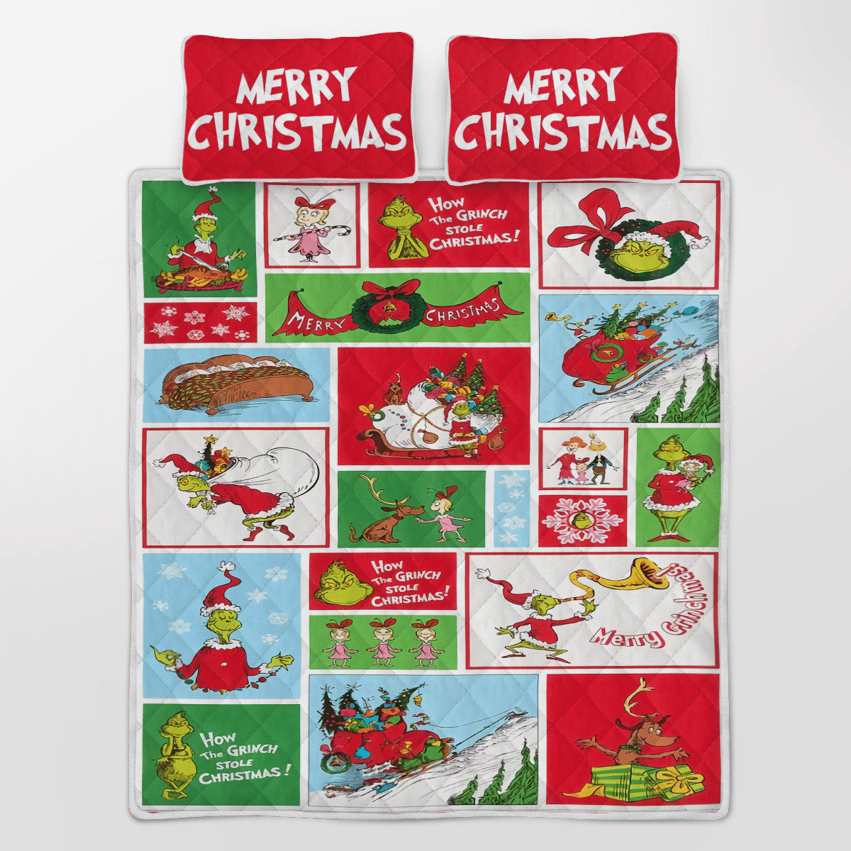 Grinch Merry Christmas Quilt Bedding Set